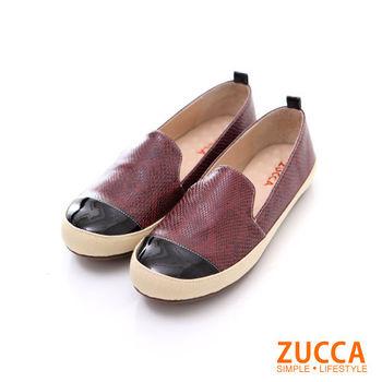 ZUCCA【Z5816】豹紋圖紋拼接色平底包鞋-白色/紅色
