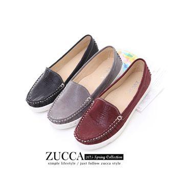 ZUCCA【Z5812】亮彩皮革車線編織平底鞋-紅色/黑色