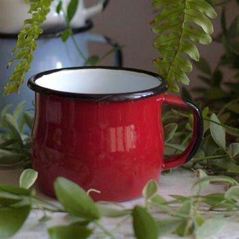 Emalia Olkusz波蘭手工琺瑯曲線杯-樹莓紅(350ml)