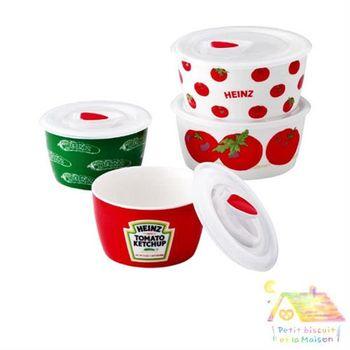 HEINZ 四件式陶瓷 含蓋 保鮮碗禮盒