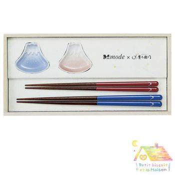 日本製 WANOBI 富士山 四件式 筷子/筷架禮盒 (筷子*2對+筷架 2個 )