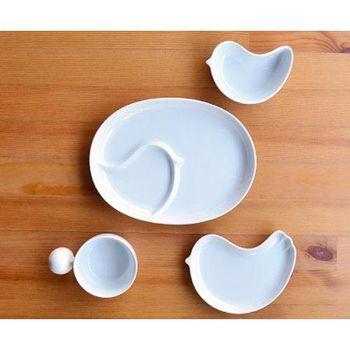 日本製 白山陶器 PIPI 四件式禮盒(橢圓分隔盤+握把湯杯+淺小鳥盤+小鳥缽)白色