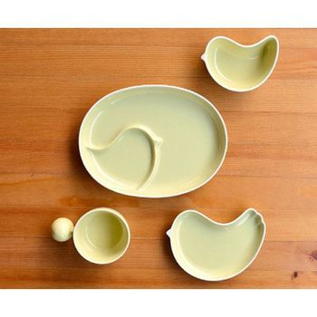 日本製 白山陶器 PIPI 四件式禮盒(橢圓分隔盤+握把湯杯+淺小鳥盤+小鳥缽)黃色