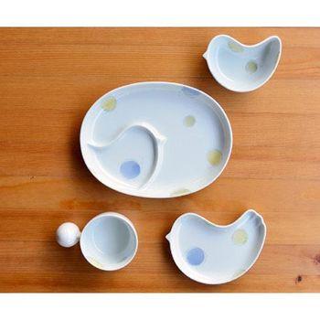 日本製 白山陶器 PIPI 四件式禮盒(橢圓分隔盤+握把湯杯+淺小鳥盤+小鳥缽) 藍色圓點