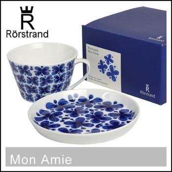 瑞典皇室御用 RORSTRAND (MON AMIE四葉蝴蝶幸運草系列) 兩件式禮盒 咖啡杯湯杯 500ml+18cm圓盤