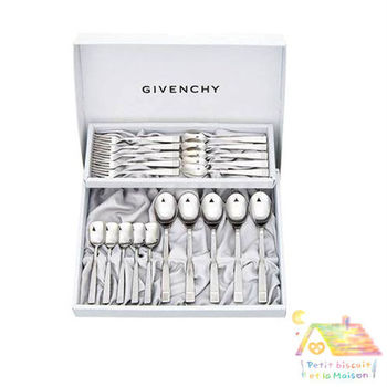GIVENCHY 不鏽鋼餐具禮盒組 大湯匙 小湯匙 叉子 甜點冰品匙 20件組