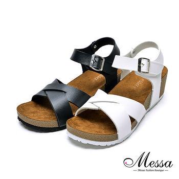 【Messa米莎專櫃女鞋】MIT交錯中性休閒厚底涼鞋-二色