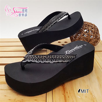 【Shoes Club】【021-1602】拖鞋.台灣製MIT 兒娜多姿嚴選水鑽緞帶飾人字夾腳楔型厚底拖鞋.黑色