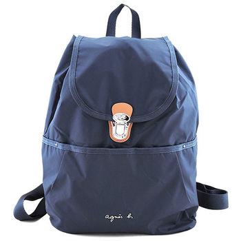 agnes b VOYAGE金屬logo壓釦輕便後背包(藍)