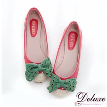 【Deluxe】鉚釘大蝴蝶結拼接麻編娃娃鞋(綠.紅)