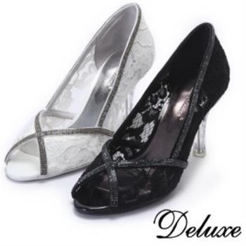 【Deluxe】優雅性感透膚水鑽邊線魚口跟鞋(白.黑)