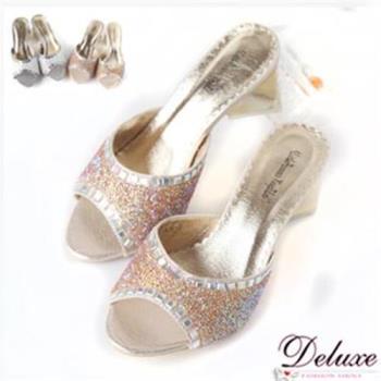 【Deluxe】Bling閃亮水晶加厚乳膠墊粗跟涼鞋(銀.金)