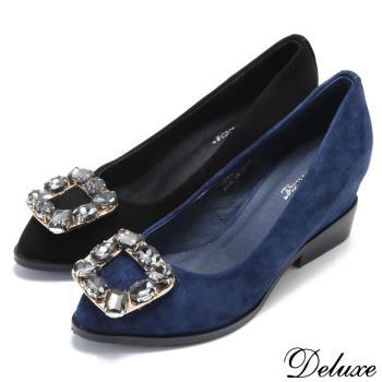 【Deluxe】全真皮銀灰水晶小尖頭楔型跟鞋(黑.藍)