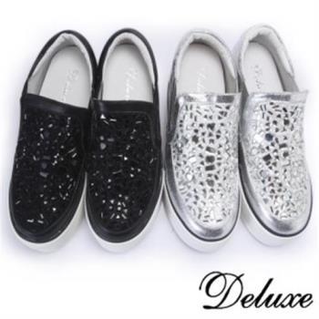 【Deluxe】厚底內增高休閒鞋奢華不規則水晶(黑.銀)