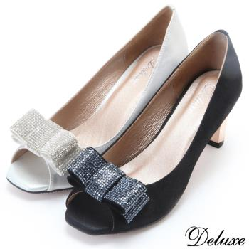 【Deluxe】全真皮柔美質感水鑽魚口粗跟鞋-銀-黑