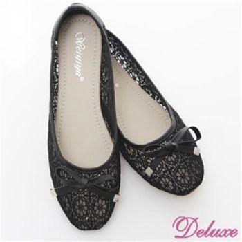 【Deluxe】首爾女孩浪漫蕾絲網狀蝴蝶結娃娃鞋(藍.灰)