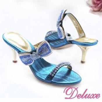 【Deluxe】雙線美型蝴蝶結鑲鑽高跟涼鞋(藍.黑)