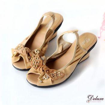 【Deluxe】全真皮蝴蝶紐結鉚釘飾釦魚口楔型鞋(黑.米)