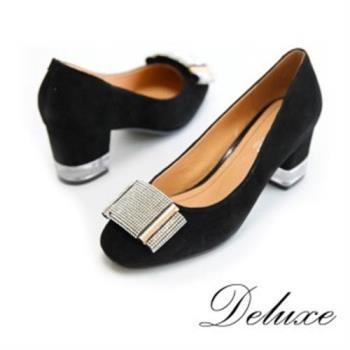 【Deluxe】奢華水鑽綴飾包頭粗跟鞋(黑)