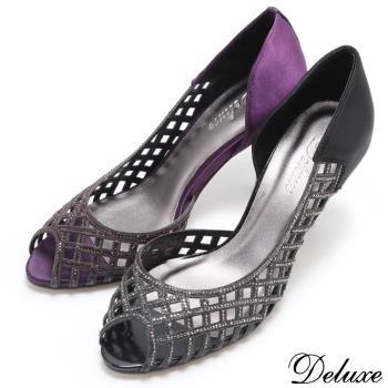 【Deluxe】菱口簍空水鑽魚口高跟涼鞋(黑/紫)