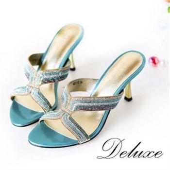 【Deluxe】水晶鑽跳舞蝴蝶高跟涼鞋(藍)