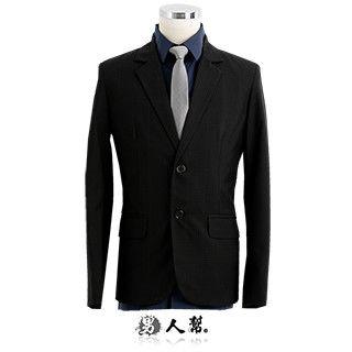 【男人幫】經典黑色格紋窄版雙扣西裝外套(C5320)