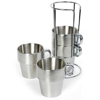 【韓國熱銷】不鏽鋼雙層馬克杯四入組