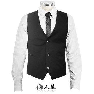 【男人幫】3D修身黑色素面單扣西裝開襟背心(W0131)