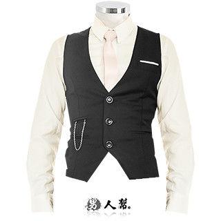 【男人幫】紳士修身剪裁開襟西裝背心 (W0132)