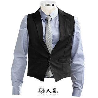 【男人幫】3D修身黑色素面單扣西裝開襟背心(W0130)