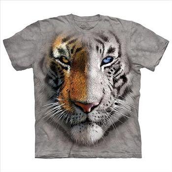 【摩達客】(預購)美國進口The Mountain 陰陽眼白虎 純棉環保短袖T恤