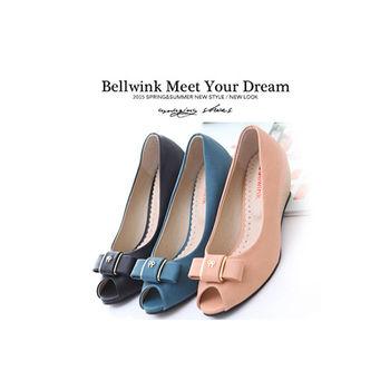 bellwink【B9117】大小朵金屬朵結露趾高跟鞋-藍色/粉色