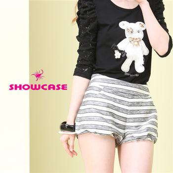 SHOWCASE 個性條紋燈籠短褲-(白)-156029E