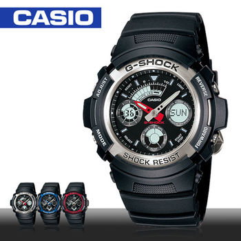 【CASIO 卡西歐 G-SHOCK 系列】自動LED照明_雙顯功能_學生_中性錶(AW-590)