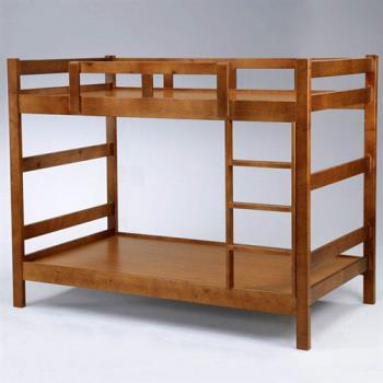 Homelike 柚克3.5尺雙層床-淺胡桃色