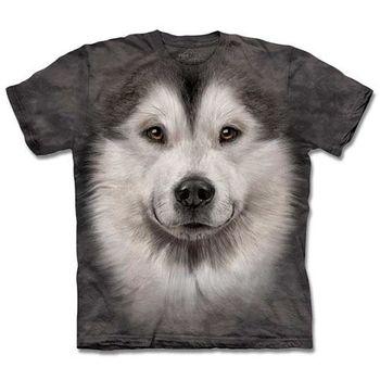 『摩達客』(預購)美國進口【The Mountain】自然純棉系列 哈士奇雪橇犬臉T恤