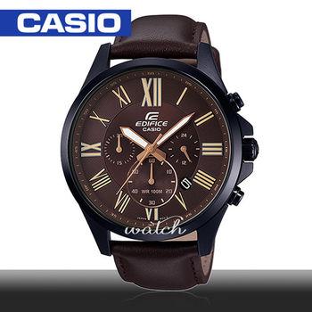 【CASIO 卡西歐 EDIFICE 系列】雜誌推薦款 霸氣大鏡面 石英皮革男錶(EFV-500BL)