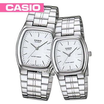 【CASIO 卡西歐 對錶系列】送禮首選 浪慢情人 酒桶造型 不鏽鋼石英 對錶(MTP-1169D+LTP-1169D)