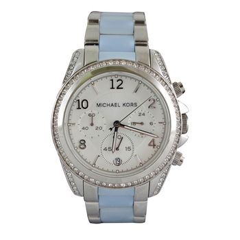 MICHAEL KORS  皇冠公主三顯水鑽不鏽鋼腕錶-水藍色