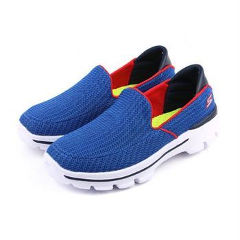 SKECHERS GO WALK 3 休閒鞋 藍紅 童 no386