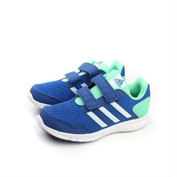 adidas Runfastic CF K 跑鞋 兩個魔鬼氈 藍綠 童 no285
