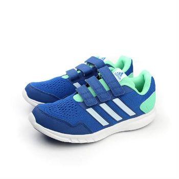 adidas Runfastic CF K 跑鞋 三個魔鬼氈 藍綠 童 no285