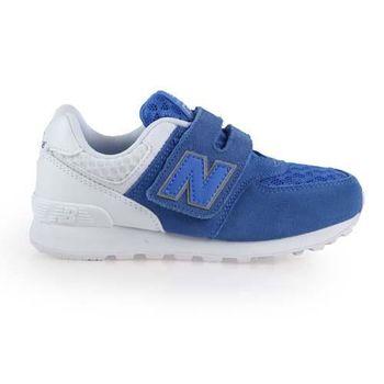 【NEWBALANCE】574 男女中童復古休閒鞋-WIDE- NB 寬楦 藍白