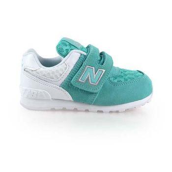 【NEWBALANCE】574 男女兒童復古休閒鞋-WIDE-NB 寬楦 湖水綠白