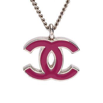 CHANEL 香奈兒經典彩色琺瑯雙C LOGO造型墜飾項鍊(紫紅)