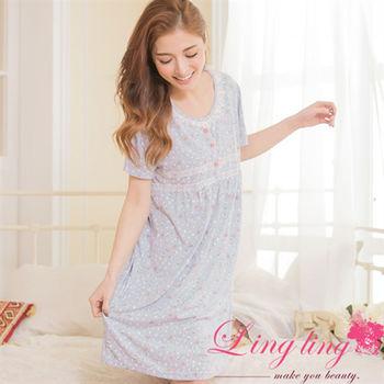 lingling日系 全尺碼-棉質小碎花蕾絲短袖連身洋裝睡衣(清新藍灰)A2883