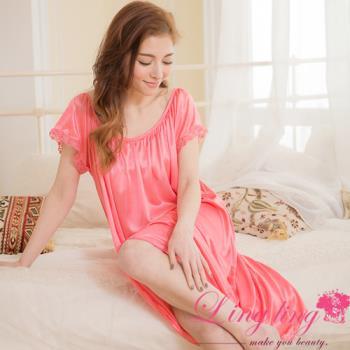 lingling日系 大尺碼-素面抓褶冰絲短袖蕾絲花邊連身裙睡衣(珊瑚紅)A2880-05