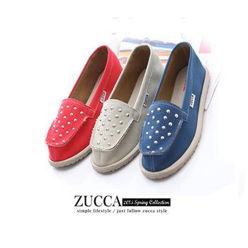 ZUCCA【Z-5715】鉚釘不收邊平底休閒懶人鞋-白色/紅色/藍色
