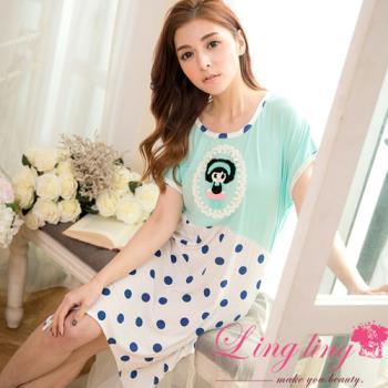 lingling日系 全尺碼-不規則擺娃娃貼布點點短袖連身裙睡衣(清新藍綠)A2863-01