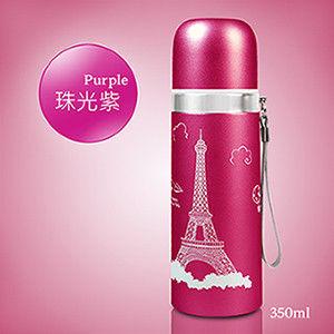 浪漫巴黎風-珠紗光澤 艾菲爾鐵塔不鏽鋼保溫瓶350ml